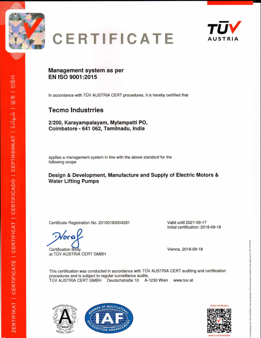 Tecmo Industries-Certificate